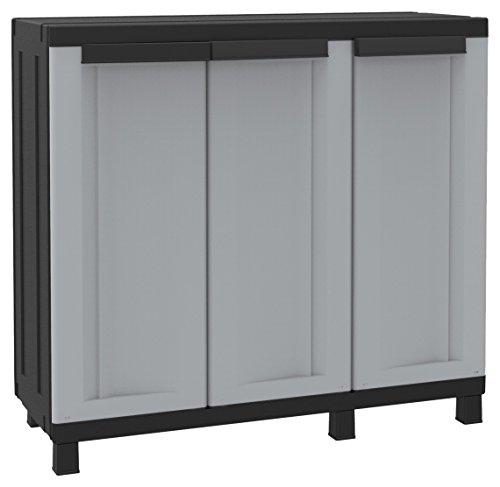Terry twist black 102b armadio basso in plastica a 3 ante, grigio/nero, 102 x 39 x 91.5 cm