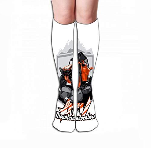 "zsxaaasdf Women's Men's Tube Stockings Athletic Crew Socks 19.7""(50cm) two colors artwork s layered off road atv buggy logo mountain adventur"