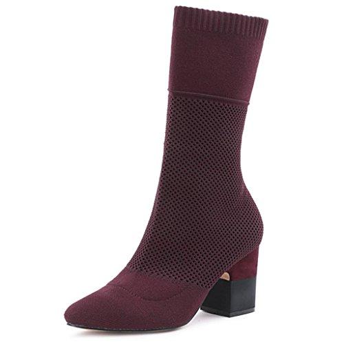 Scarpe da ginnastica alti in vitello da ginnastica al ginocchio da donna Da donna Stivali a maglia Stovepipe calza gli stivali Stivaletti , Red , 39 RED-39