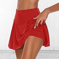DDZKA Falda corta 2020 Faldas deportivas para mujer, cintura alta, plisadas, vestido corto de bádminton, voleibol, correr, animar, playa, danza, sko, color rojo, tamaño L