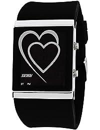 ufengke® kreative herz führte digitalen gelee armbanduhren,paar paar liebhaber romantischer liebe erzählen geschenk handgelenk armbanduhren,schwarz