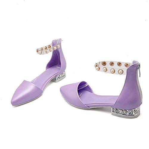 Adee Mädchen Perlen Reißverschluss Polyurethan Sandalen Violett