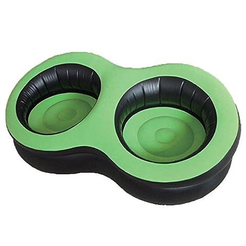 Double Gonflable Floqué Canapé Chaise Longue Chaise Blow Up Pod, camping, Gaming, Festival soleil pour intérieur et extérieur–Vert