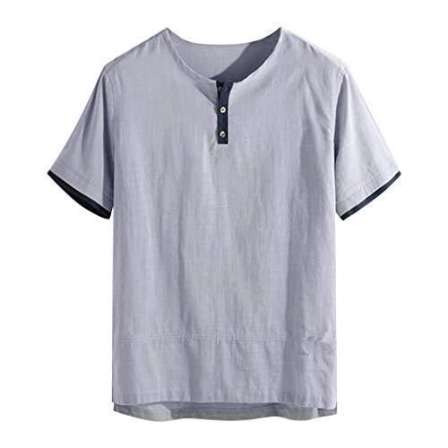 TWISFER Leinenshirt Herren Tshirts Sommer Baggy Baumwolle Leinen Einfarbig Kurzarm T Shirts Tops Mode Hemden Henley Freizeit Shirt mit Knopfleiste