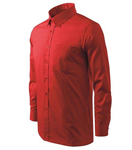 Herrenhemd Langarm - Hemd für Herren von Adler - Größe und Farbe wählbar - (XL, rot)