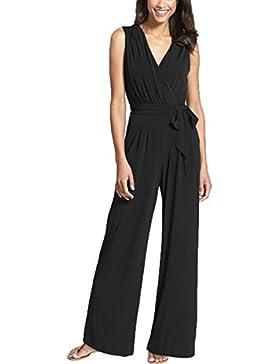 Junshan Damen Jumpsuit Elegant Overall Sommer Catsuit Lang Ärmellos V-Ausschnitt Clubwear Kleidung