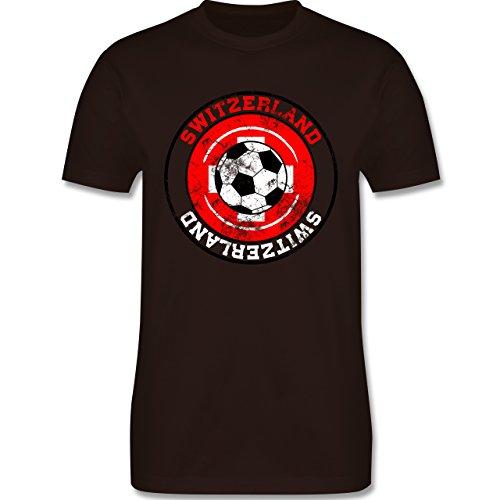 EM 2016 - Frankreich - Switzerland Kreis & Fußball Vintage - Herren Premium T-Shirt Braun