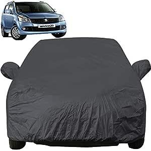Autofact Car Body Cover with Mirror Pockets Compatible for Maruti Wagon r/Wagonr (Triple Stitched, Bottom Fully Elastic, Dark Grey)