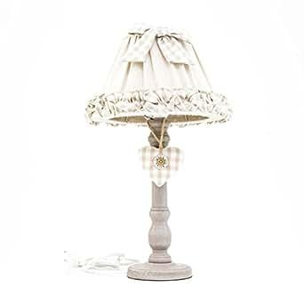 Lampada Grande da Tavolo con Base in Legno 25X25X48 cm