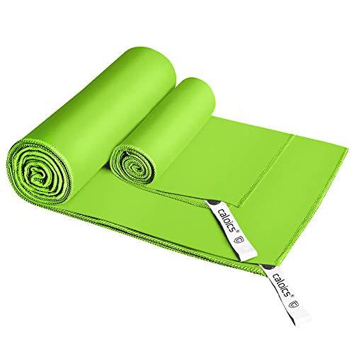 Green Deodorant (caloics Mikrofaser Handtücher, leichtes, schnell trocknendes saugfähiges&Antibakterielles Deodorant Mikrofaser-Badetuch 120 x 60 cm und 80 x 40cm für Reisen,Bad und Sport (Green))