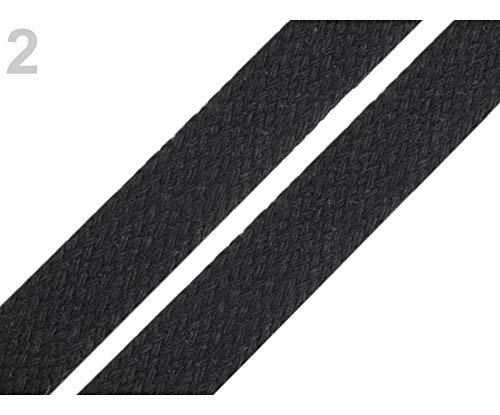 10m 2 Negro mate Cordón Algodón Ancho 12-15mm, Cables