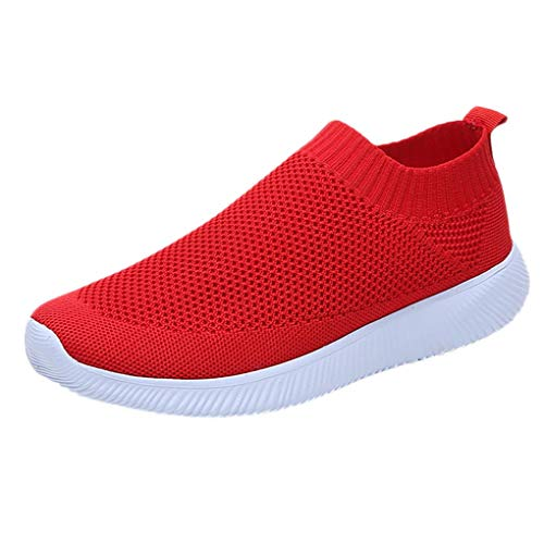 Dorical Sneaker Turnschuhe für Damen/Fliegendrähte Leicht Fitnessstudio Stoffschuhe Schuhe Straße Laufschuhe Sporttraining Sportschuhe Outdoor Bequem Freizeitschuhe (Rot,37 EU) -