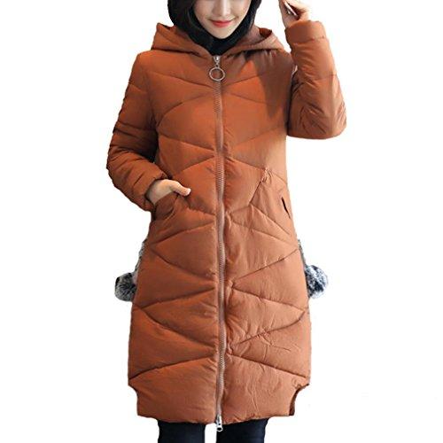 YANXH Sports Hiver Le Nouveau Down Jacket Femmes lâches épaississement à Capuchon dans Le Long Manteau de Section