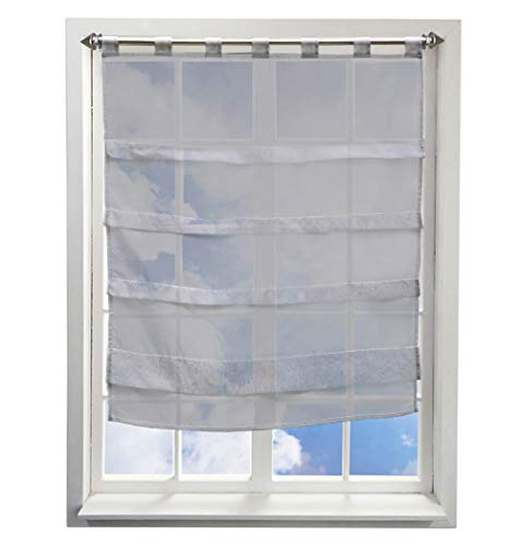 BAILEY JO Stores Transparent Couleur Unie avec Plis Rideaux à Pattes Décoration  de Fenêtre Chambre  ce2e07dd082e