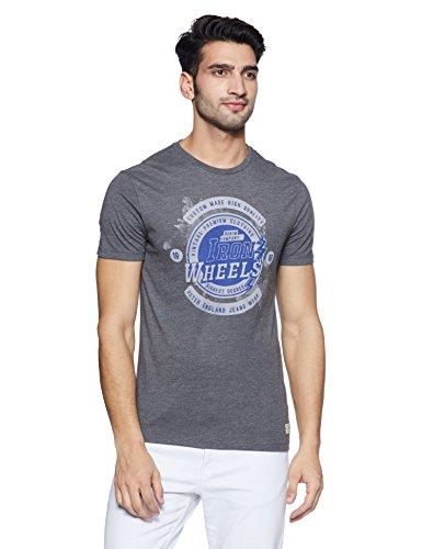 Peter England Men's Solid Slim Fit T-Shirt (JKC318005807_Darkgreywithblue_S)