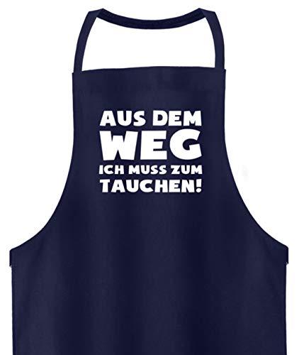 shirt-o-magic Taucher: Muss zum Tauchen! - Hochwertige Grillschürze -Einheitsgröße-Dunkel-Blau -