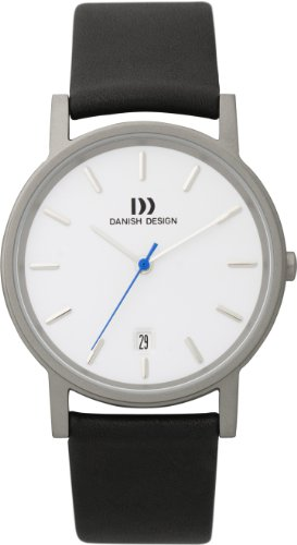 Danish Design Men's Quartz Watch with White Dial Analogue Display and Black Leather Strap DZ120001