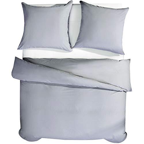 RUIKASI Bettwäsche 220 x 240 cm Grau Baumwollbettwäsche 100% Atmungsaktive Baumwolle Hautfreundlich für Heiße Tage im Sommer - 1 Bettbezug 220 x 240 cm + 2 Kissenbezüge 80 x 80 cm - 10 Jaren Garantie -