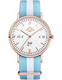 Sailor Reloj Limited Edition Sylt, Model: Sylt en rosègold/blanco con nylon pulsera | Reloj de cuarzo con indicador analógico | Exclusivo del Mar del Norte Accessories4men 2017, color pulsera: Sail