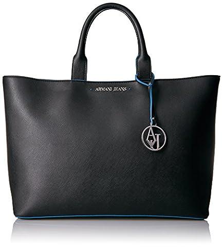 Armani Jeans Saffiano Color Trim Tote, Black