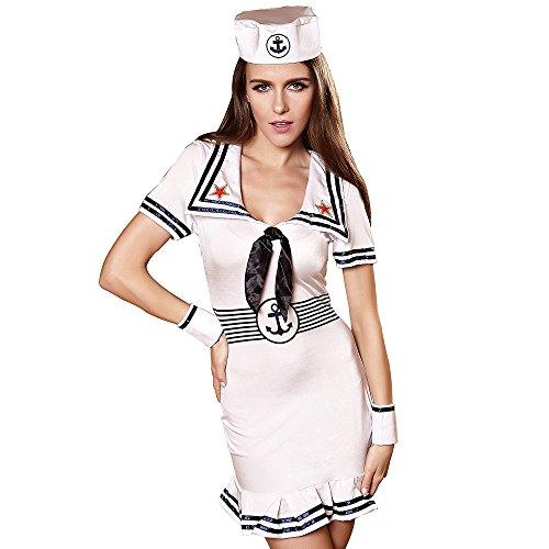 FIZZENN Das nautische Rollenspiel-Kostüm der sexy Frauen Weinlese-Rockabilly-Kleid-Pinup-Retro- (Marine Pinup Für Erwachsene Kostüm)