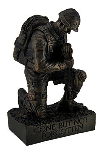 Zeckos Harz Statuen Silent Salute kniend mit Gewehr Military Soldier in Boden Statue 13,3x 21,6x 9,5cm Bronze