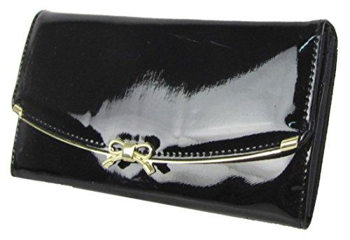 Kukubird Brevet En Faux Cuir Avec Anneau De Support Avant Détail Grandes Dames Sac Embrayage Wallet Black