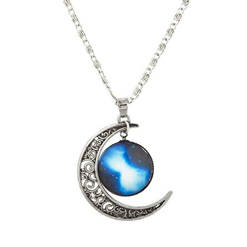 lux-zubehor-burnish-silber-cabochon-celestial-crescent-moon-charm-halskette