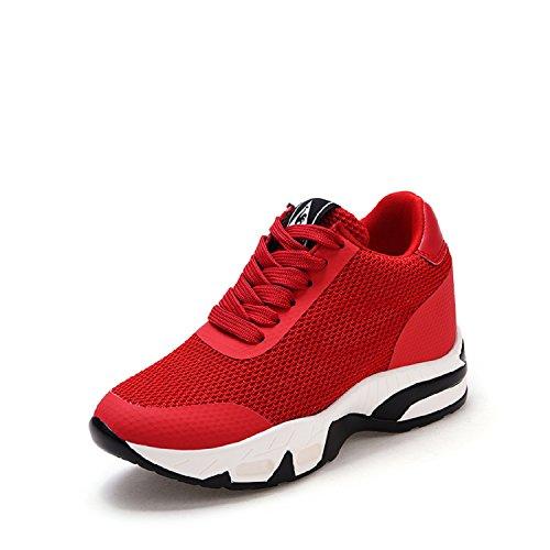 LILY999 Damen Sneakers mit Keilabsatz Turnschuh Wedges Sportschuhe Freizeitschuhe Keilabsatz 8cm (Rot,Größe 38)