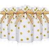 30 Packs Traiter les Sacs avec Sacs de Bonbons de Cordon de Serrage, Sac de Faveur en Plastique Sacs à Biscuits à Cordon pour Fête de Mariage Noël Anniversaire Fiançailles Faveur (Imprimé à Pois Doré)