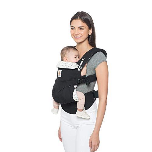 Ergobaby Babytrage für Neugeborene ab Geburt bis 20kg, 4-Positionen Omni 360 Dowtown, Ergonomische Baby-Tragetasche für Bauch Rücken, schwarz
