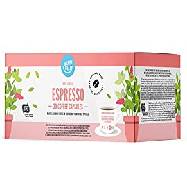 Amazon Brand- Happy Belly  Espresso Roast & Ground UTZ Coffee in Nespresso compatible compostable capsules