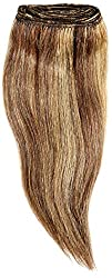 1st Lady Silky Straight Natural European Weft Human Hair Extension with Premium Blend Weave, Number P4/27, Chocolate/Strawberry Blonde, 10-Inch
