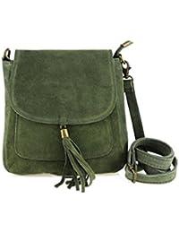 a0415e6d257e4 Made in Italy Damen Leder Tasche Messenger Bag Henkeltasche Wildleder  Handtasche Umhängetasche Ledertasche Schultertasche…