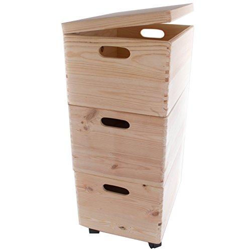 Set von DREI große Stapelboxen mit Rollen/Holz Truhe/Toys Trunk (Medium Trunks Truhen)
