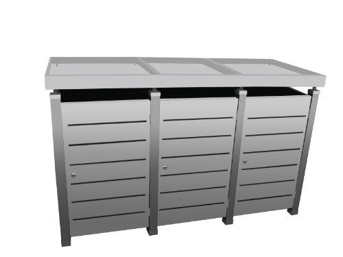 Mülltonnenbox Modell Pacco E Line für drei 240 ltr. Tonnen in Edelstahloptik mit Pflanzwanne