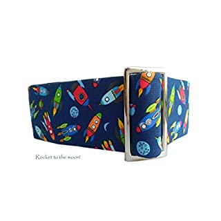 Skyefrog Handmade Martingale Dog Collar - Rocket and spaceship themed