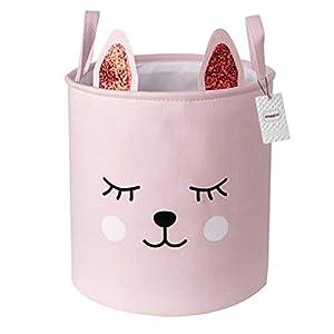Inwagui Mädchen Aufbewahrungskorb Faltbare Baby Wäschekorb Kinderzimmer Stoff Aufbewahrungsbox LagerungsKorb für Spielzeug Kleidung – Rosa Katze