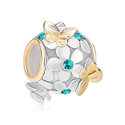 PoeticCharms 925 Sterling Silber Magnolie Rosé Emaille Blume&Golden Schmetterling Charms Kristall ür europäische Armband Schmuck
