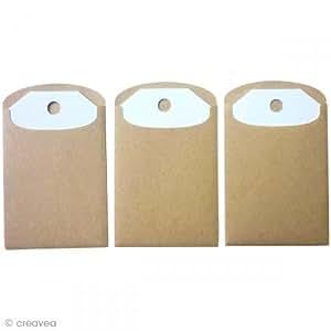 6 mini enveloppes Kraft et Etiquettes à décorer
