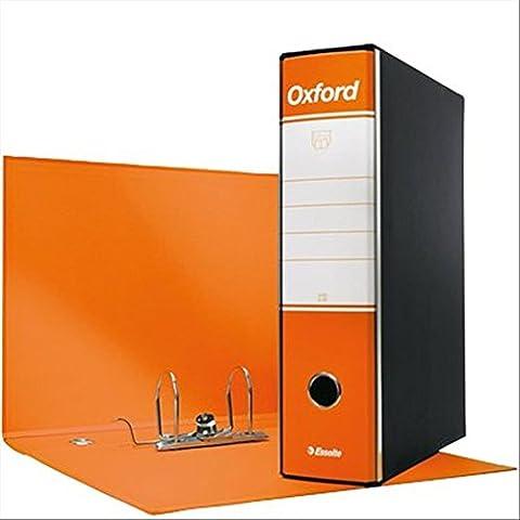 Esselte 390783200 Raccoglitore Oxford con meccanismo a leva e con custodia, Formato Commerciale, Cartone, Dorso 8 cm, Arancione, Confezione da