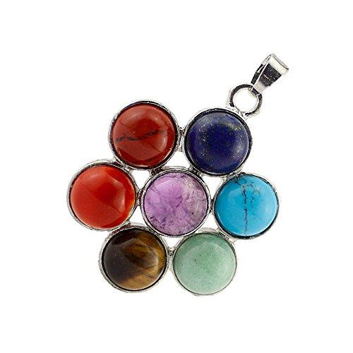 Contever 7 Chakra Edelstein Anhänger Reiki Heilung Ausgleich Legierung einfügen Natürliche Kristall Steine Schmuck -- Rund Blumen Sti (Herz Red-t-shirt Seele)