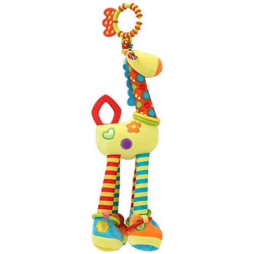 Giochi Passeggino Carini Giocattoli per Passeggino Letto da Bimbo Seggiolino Auto Giocattoli per bambini per unire 0-1 anni bambola giraffa letto appeso ciondolo auto peluche con teether,Yellow