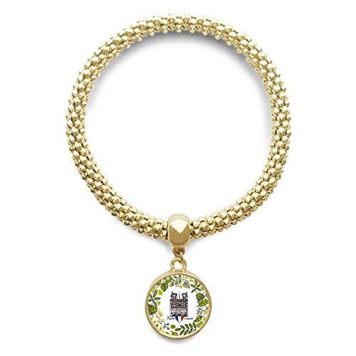 Haoda Damen Kathedrale Notre-Dame Paris Frankreich Goldene Armband Laufende Anhänger Schmuck-Kette (Frankreich Kostüm Schmuck)