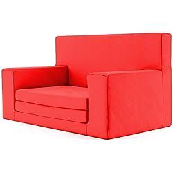 2 en 1 sofá cama infantil color Rojo de espuma viscoelástica: sofá cama súper suave y seguro para niños entre 1 y 4 años, tumbona para TV silla infantil divertida y ligera