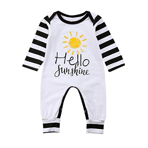 Saihui Boys Girls Rompers, Baby Letter Print Hello Sunshine Romper Striped Pyjamas Autumn Jumpsuits Newborn Infant Outfits Clothes