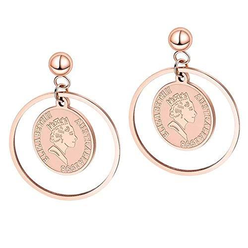 Münzen kreis anhänger titanium stahl rose gold Trendy queen avatar ohrringe ohrschmuck weiblich