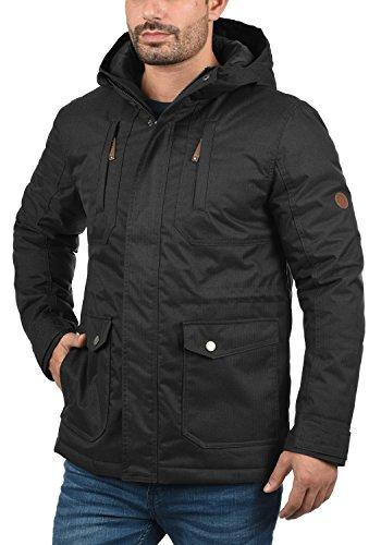 SOLID Bellippo Herren Winterjacke Lange Jacke Parka mit Kapuze aus hochwertigem Material, Größe:M, Farbe:Black (9000) - 2