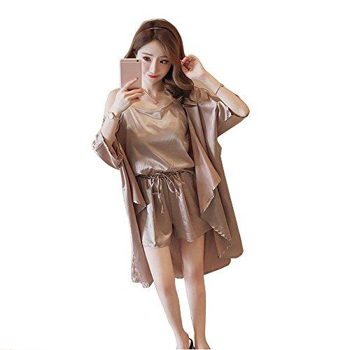 WUYY Damen Nachthemd Sexy Negligee Satin Nachtkleid Kurz Sommer Nachtwäsche Sleepwear Trägerkleid V Ausschnitt,Champagne-XXXL (Intimo Schlaf-hose)