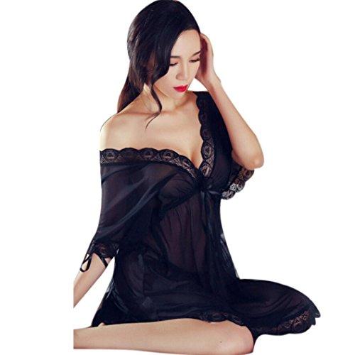 Nachthemd Mädchen Nachtwäsche Nachthemd Nachtkleid Pyjama Damen Negligee Spitze Kleid Babydoll Schritt Unterwäsche Nachtwäsche Negligee Erotik Chemise Dessous Set (Sexy Black) (Liebhaber Paket Kostüme)